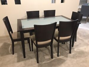 6 Seater Timber & Glass Dining Setting