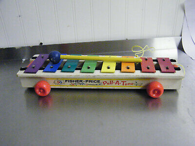 Vintage 1964 Fisher Price Pull-A-Tune Xylophone, Wooden Wheels & Mallet
