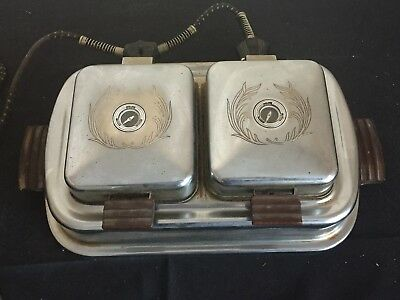 Antique Vintage Dominion Electric Chrome Waffle Iron c. 1950s