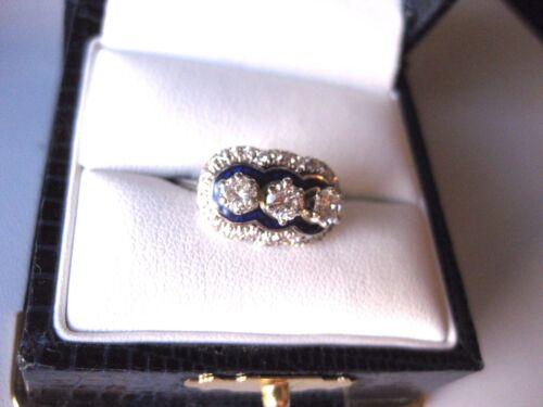 "VINTAGE ESTATE 18K WHITE GOLD RING: FINE DIAMONDS & ""COBALT"" ENAMEL,circa 1950"