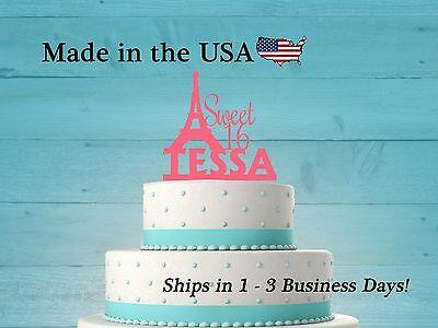 Sweet 16, Paris Eiffel Tower Cake Topper, Personalized Paris Topper, LT1041 - Paris Sweet 16