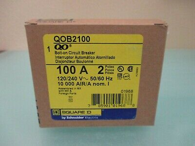 Square D Qob2100 Qob 2100 2 Pole 100 Amp Bolt-on Circuit Breaker - New In Box