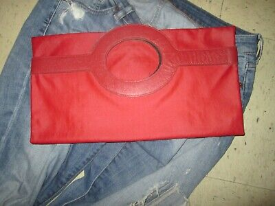 Authentic Vtg Fendi LOGO ITALY Zucca Fold Over Clutch Tote Handbag Canvas RED**