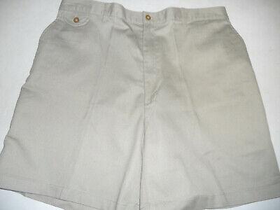 TOWNCRAFT 34 x 6.5 Comfort Fit Back Elastic Waist Flat Front Stone Tan - Comfort Fit Flat Front Shorts