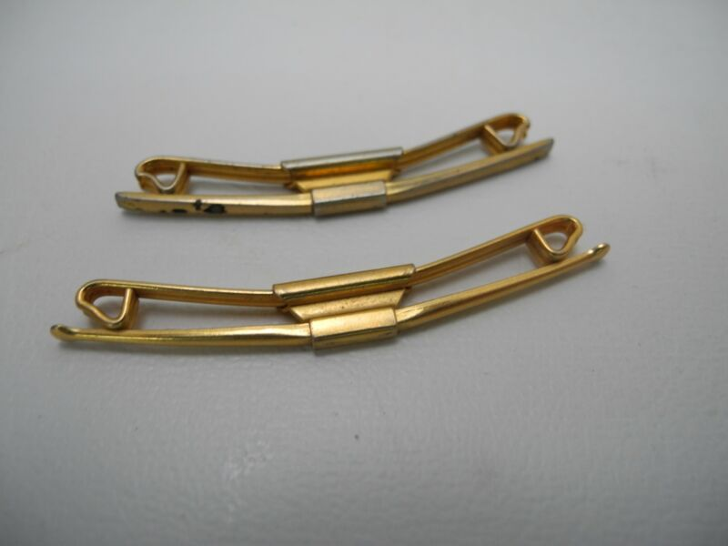 Set of 2 Vintage Collar Bar Clasp Stay SWANK 50 1950
