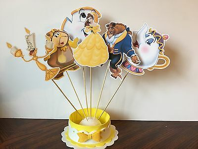 Beauty And The Beast Decor (Beauty And The Beast Party Set Of 6 Centerpiece Picks DOUBLE SIDED 6