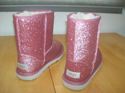 Sparkle Uggs Kids (New Uggs Classic Short Pink Sparkle Boots Big Kids 6 Womens 7 7.5)
