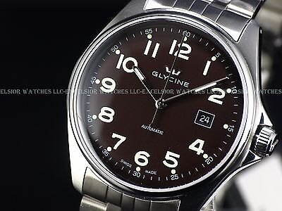 New Old Logo Glycine Combat Swiss Made Automatic Brown Dial Sapphire Watch 3890