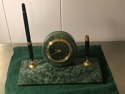 Green Marble Desk Set Wclock Felt Bottom With Pen Pencil Holder W1 Pen0400