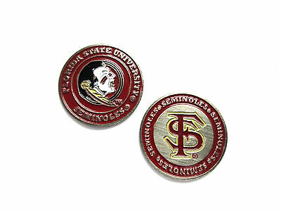 NCAA Florida State Seminoles Golf Ball Marker Enamel Metal Team Logo 2 Sided Hat - Florida State Seminoles Golf Ball