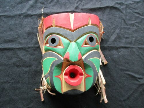 NORTHWEST COAST CEDAR CARVED MASK, SIGNED, TSIMSHIAN NATION   WY-1120*05061