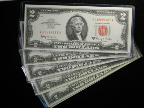 1963 $2 Red Seal Dollars Silver Certificate Old Estate Currency UNC Uncirculated