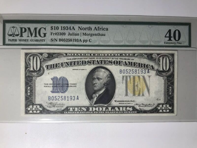 1934 a north africa silver certificate $10 PMG 40 extremely Fine.