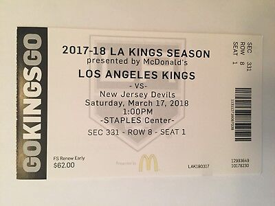 LOS ANGELES KINGS VS NEW JERSEY DEVILS MARCH 17, 2018 TICKET (Los Angeles Kings Vs New Jersey Devils)