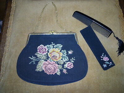 Vintage Needlepoint Black Bag with Matching Comb