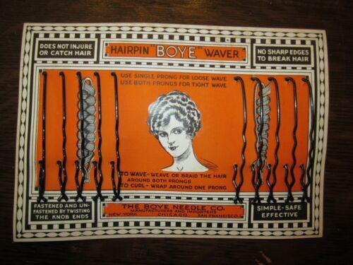 "2 antique BOYE WAVE SET bobby hair pins 3"" NOS Flapper Girl advertising lot #10"