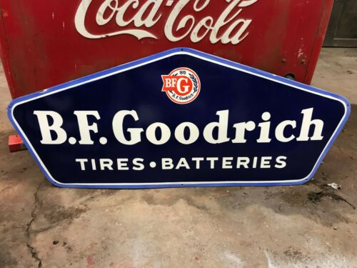 """BF GOODRICH"" X-LARGE, HEAVY PORCELAIN SIGN, (48""x 20""), NEAR MINT CONDITION"