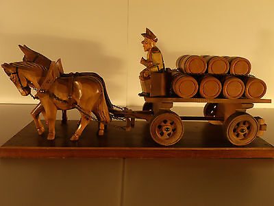 BLACK FOREST HAND CARVED GERMAN BEER WAGON WITH HORSES, DRIVER AND BEER KEGS