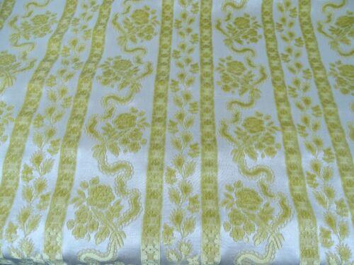 "Antique French Yellow Home Cotton Velvet Fabric Unused  54"" x 69"""