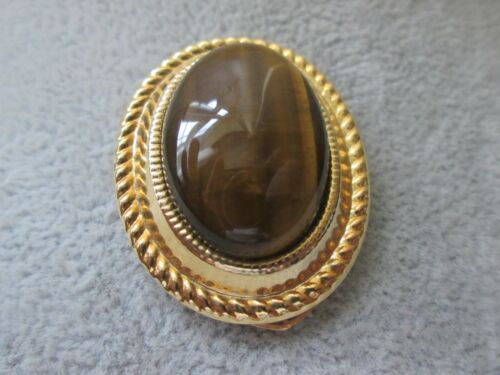 Polished Tigers Eye Stone Oval Scarf Clip Gold Tone Light Weight