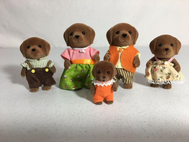 Calico critters/sylvanian families Chocolate Lab Family Of 5 Dogs