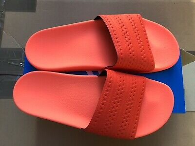 Adidas Originals Mens Womens Adilette Slides Sandals BY9905 New Peach Red