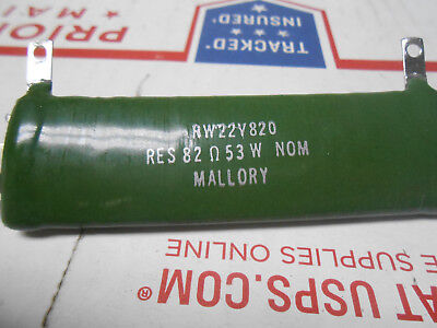 Rw22v820 Mallory Fixed Resistor 82 Ohms 53 Watts 12 Terminals New Old Stock