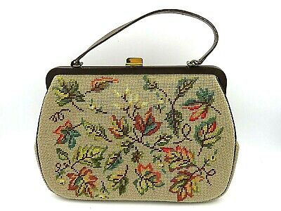 1940s Handbags and Purses History Vintage 1940s 1950s Hand Made Women's Stitched Purse - Leaves and Branches $49.95 AT vintagedancer.com