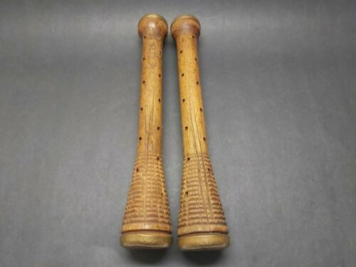 """Antique 12"""" Wood BEEHIVE BOBBINS Industrial Textile Thread Spools w Brass Ends"""