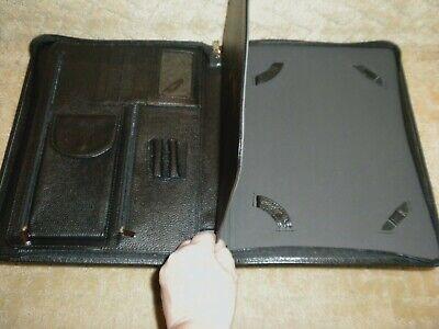 Genuine Black Top Grain Leather Tablet Notepad Portfolio Organizer Executive