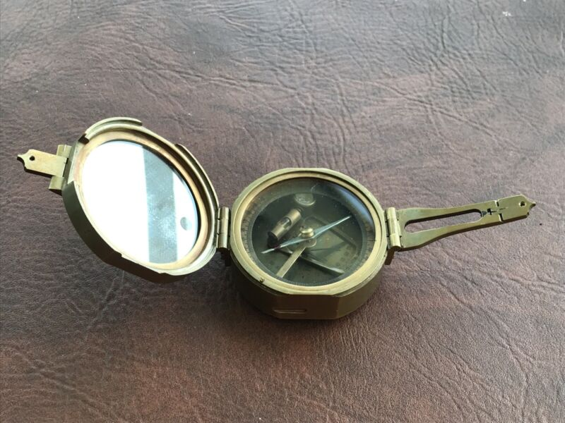 Solid Brass Brunton Type Pocket Transit NATURAL SINE Compass