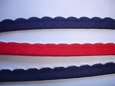5m Trachtenborte 0,50€/m rot/weiß mit Bogenkante  DF9