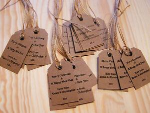 Personalised-Christmas-Gift-Tags-Packs-10-25-50-Vintage-Luggage-Label-Kraft