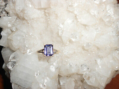 Iolite Ring Faceted Emerald Cut set in sterling silver size - Cut Iolite Ring