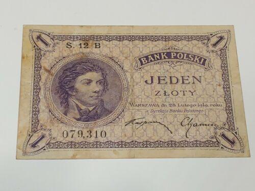 1919 Poland 1 Zloty Banknote Very Fine