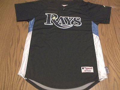 TAMPA BAY RAYS MAJESTIC BRAND COOL BASE BUTTON NECK JERSEY -YOUTH LG = ADULT SM