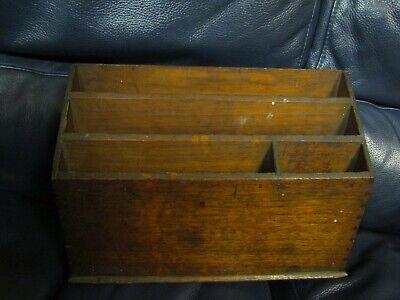 Vintage Wood Letter Holder Desk Organizer Rustic