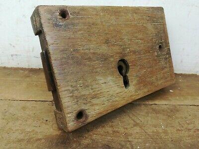 Large Antique wood cased steel door rim lock old reclaimed