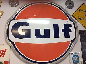 GULF B/A 3 - 6' porcelain SIGNS with rings