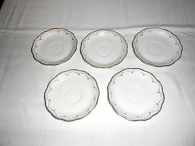 5 Vintage W H Grindley China White scalloped gold trim Saucers England