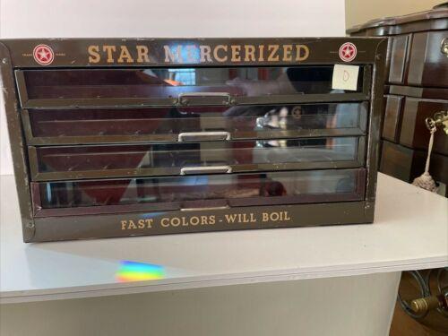 Vintage Star 4 Drawer Metal Thread Mercerized Twist Spool Cabinet Display   D