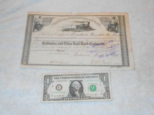1899 Heseltine Powell & Co., London, England B&O Railroad Stock Certificate - NR