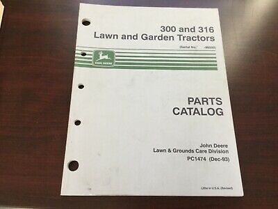 John Deere 300 And 316 Hydrostatic Lawn Garden Tractor Parts Catalog