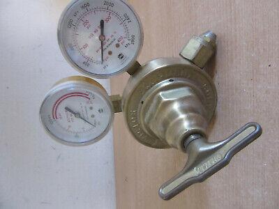 Vintage Brass Victor Compressed Gas Regulator With Gauges Sr 480 A 2800psi