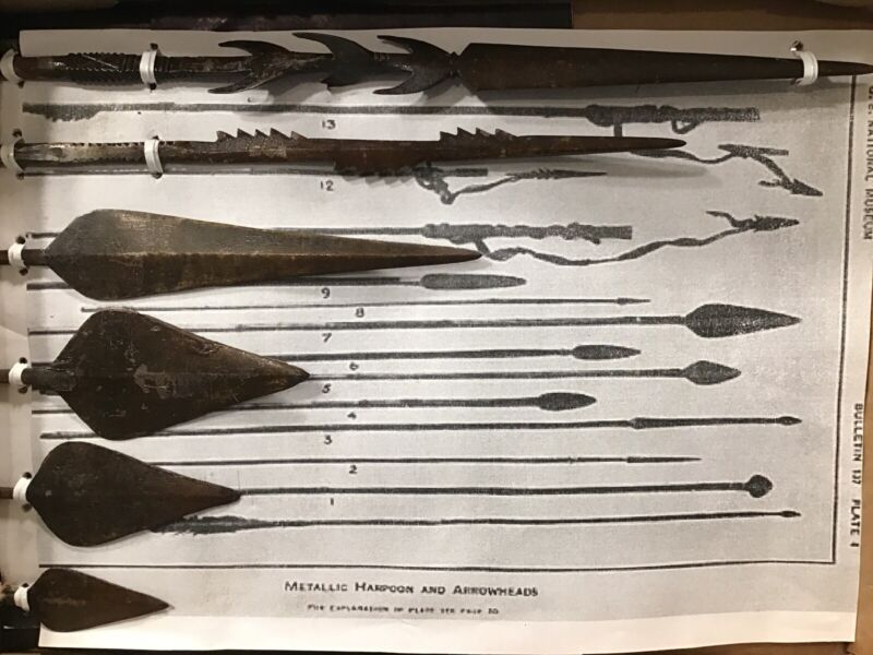 """19th CENT PHILIPPINES TRIBAL HARPOON SPEARHEADS US MUSEUM KRIEGER """"BOOK PIECES"""""""