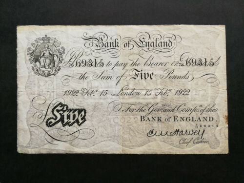 Bank of England 5 Pounds 1922