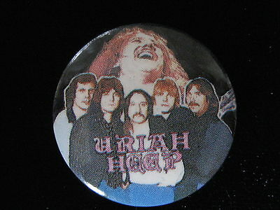 Uriah Heep-Group Shot-Rock-Pin Badge Button-80's Vintage-Rare