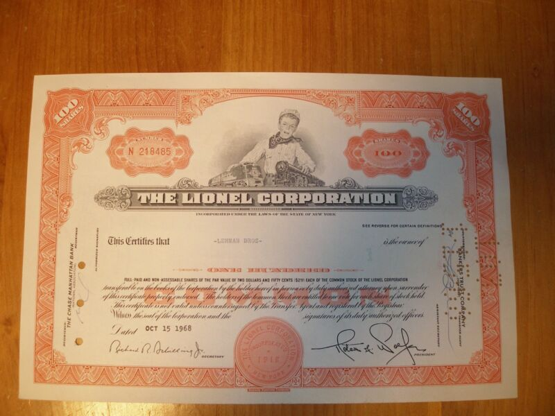 """The Lionel Corporation Stock Certificate """"Orange"""" 1967 - 1968 FREE SHIPPING!"""