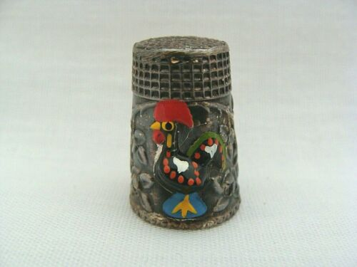 Silver-Tone Embossed Thimble With Enameled Rooster