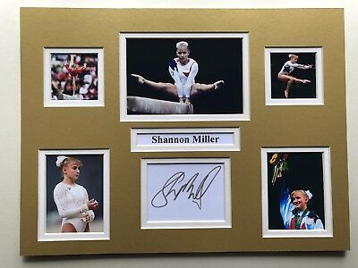 "Gymnastics Shannon Miller Signed 16"" X 12"" Double Mounted Display"